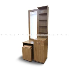 Multiple shelf dressing table with stool